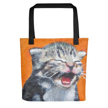 Cute Laughing Kitten Tote Bag