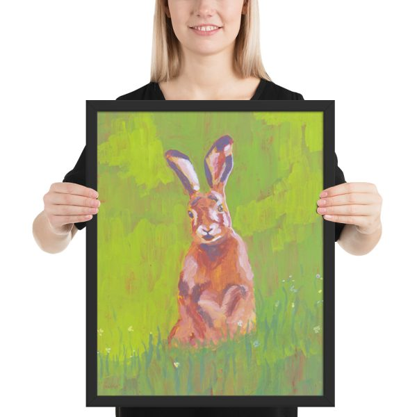 Red Rabbit in Green Grass Painting Framed Print Wall Art