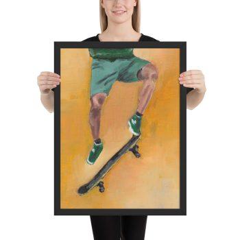 Skateboarder in Green Framed Print Wall Art