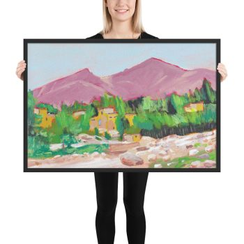 Afghan Oasis Landscape Painting, Framed Print Wall Art
