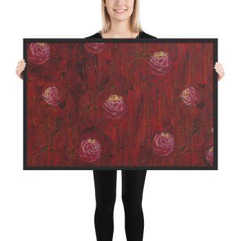 Red Mixed Media Texture Framed Print Wall Art