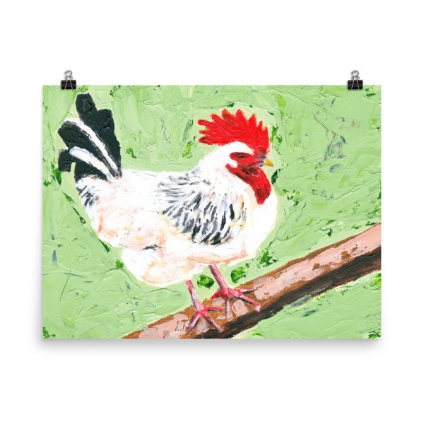 Cockerel on Green Painting Poster Print Wall Art