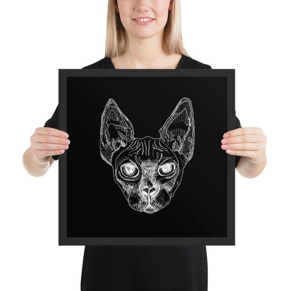 Sphynx Cat Drawing Framed Print Wall Art