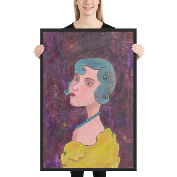 Lady with Blue Curls, Mixed Media Painting, Framed Print Wall Art