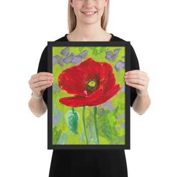 Red Poppy Flower Painting Framed Print Wall Art