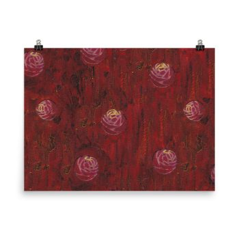Red Mixed Media Texture Poster Print Wall Art
