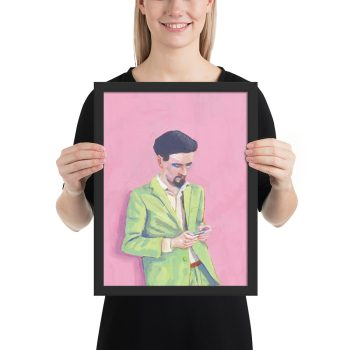 Cool in Green, Portrait Painting, Framed Print Wall Art
