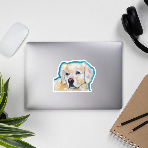 White Puppy Sticker | 5.5 x 5.5 inch Kiss Cut Vinyl Sticker