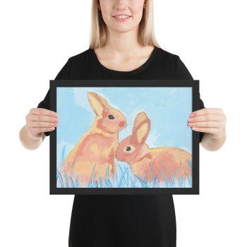 Pastel Bunnies on Blue Painting Framed Print Wall Art