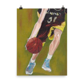 Basketball Player and Ball Poster Print Wall Art