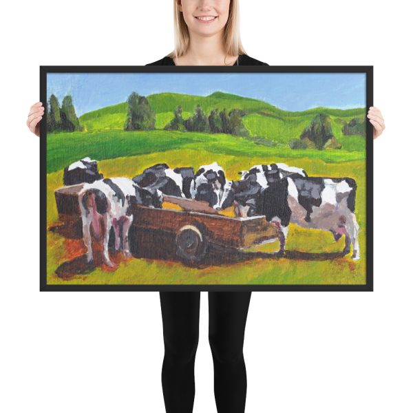 Cows Feeding from Trough Painting Framed Print Wall Art