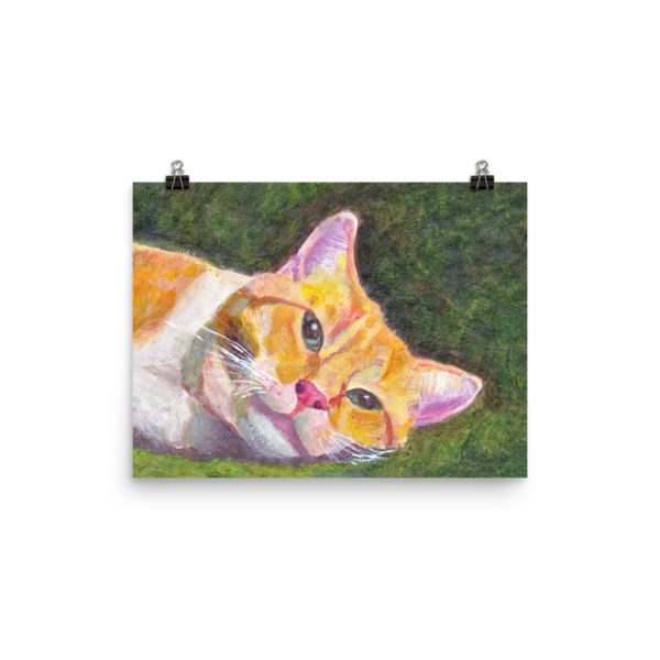 Ginger Tabby Cat Relaxing Painting Poster Print Wall Art