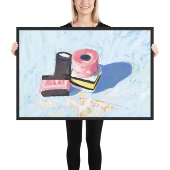 Licorice Allsorts on Blue, Still Life Painting Framed Print Wall Art