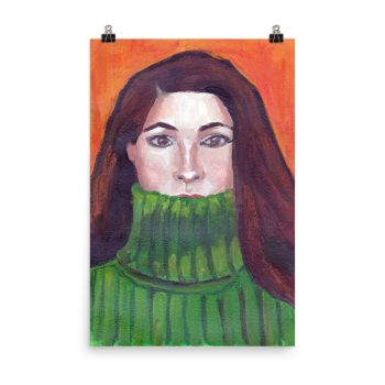 Green Turtleneck, Portrait Painting, Poster Print Wall Art