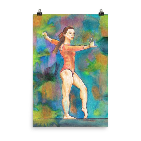 Gymnast on Print Painting Poster Print Wall Art