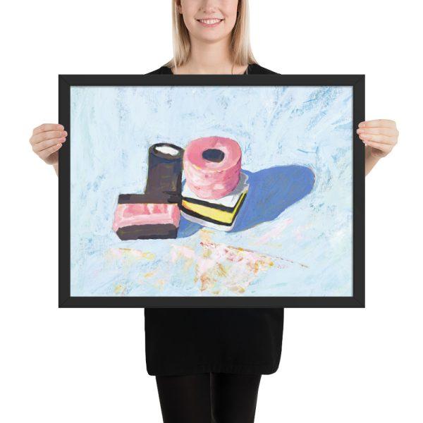 Licorice Allsorts on Blue, Still Life Painting Framed Print Wall Art
