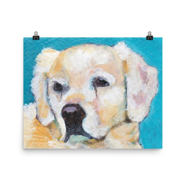 White Puppy on Blue Poster Print Wall Art