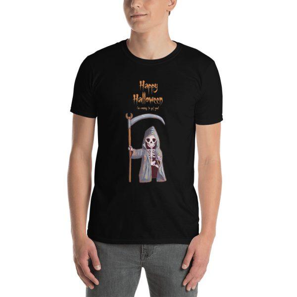 Man wearing black tshirt   Dwarf Grim Reaper Happy Halloween tee   t-shirt