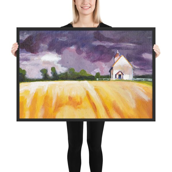 Cottage, Yellow Fields and Purple Sky Painting, Framed Print Wall Art