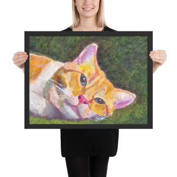Ginger Tabby Cat Relaxing Painting Framed Print Wall Art