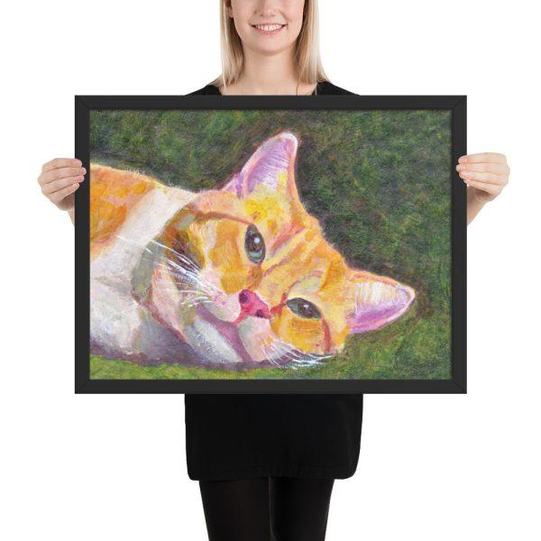 Ginger Tabby Cat Relaxing Painting Framed Print Wall Art
