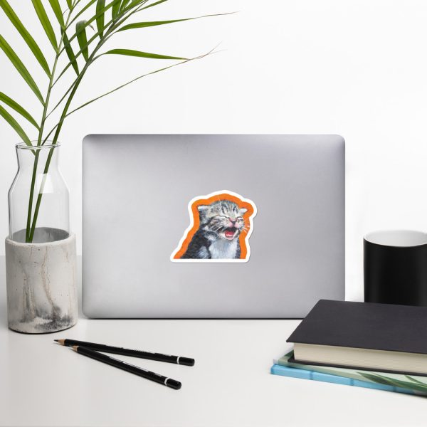 Cute Laughing Kitten Sticker | 4 x 4 inch Kiss Cut Vinyl Sticker