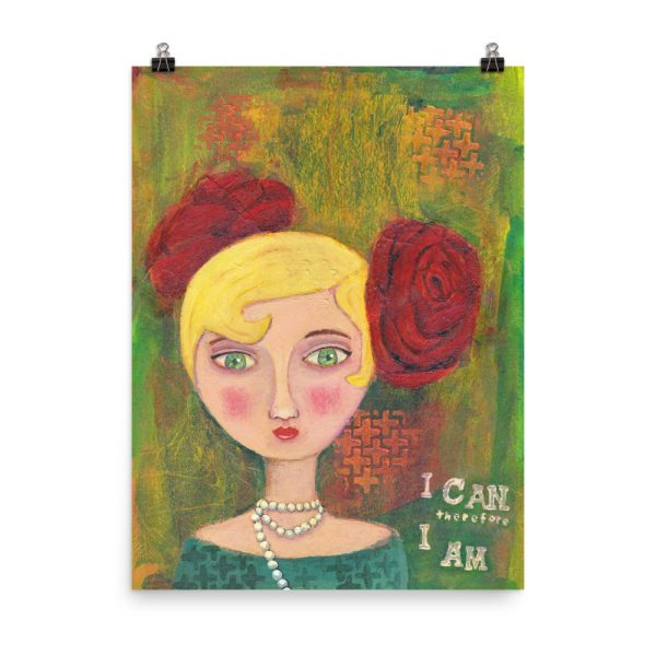 Mixed Media Lady, Portrait Painting, Poster Print Wall Art