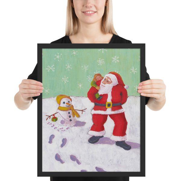 The Snowman's Xmas Present Painting Framed Print Wall Art