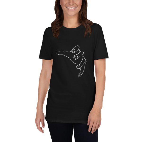 Woman wearing black tshirt | Reaching spooky hand T-shirt