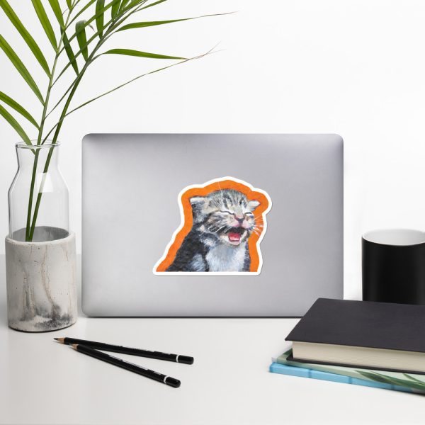 Cute Laughing Kitten Sticker | 5.5 x 5.5 inch Kiss Cut Vinyl Sticker