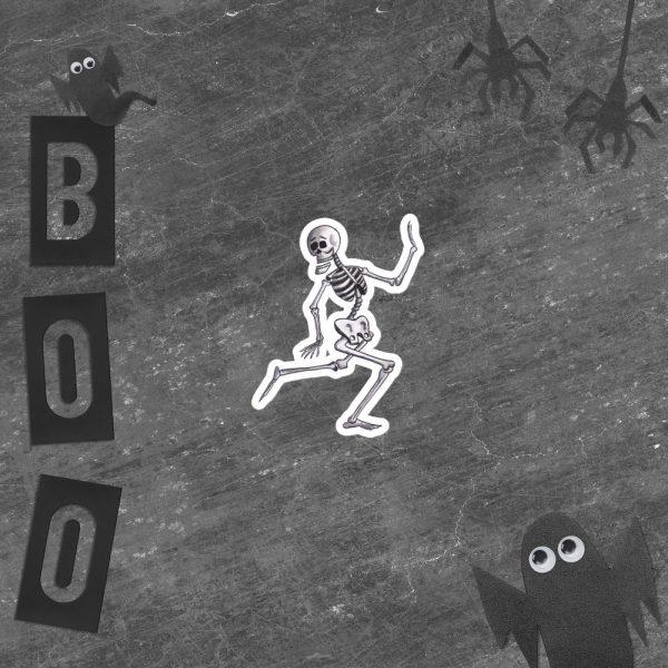 Scared Skeleton Running Sticker | 4 x 4 inch Kiss Cut Vinyl Sticker