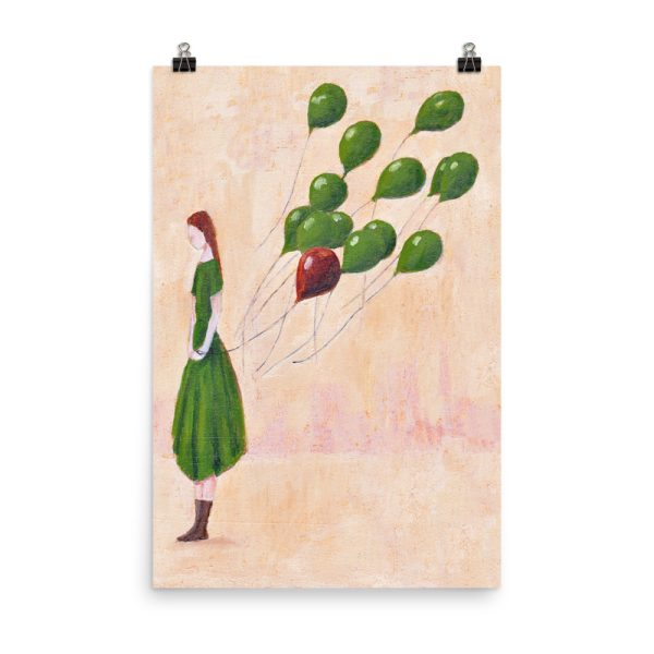 Girl with Green Balloons Painting, Poster Print Wall Art