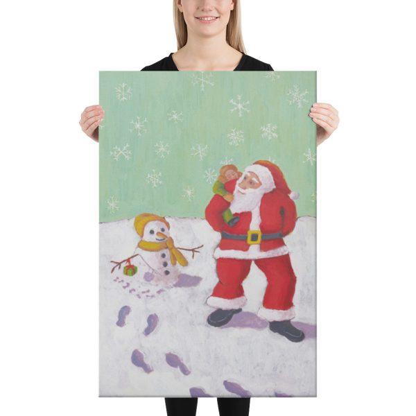 The Snowman's Xmas Present Canvas Print Wall Art