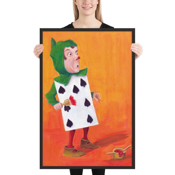Alice in Wonderland, 7 of Spades Framed Print Wall Art