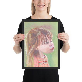 Little Girl in Pink Dress, Portrait Painting, Framed Print Wall Art