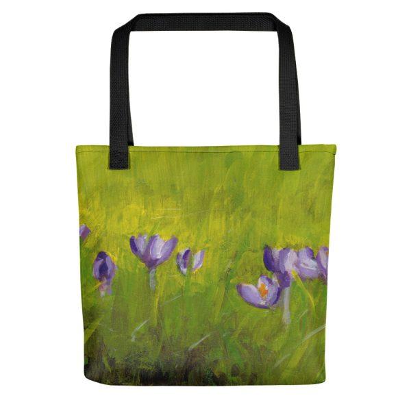 Purple Crocus Flowers in Spring Grass Tote Bag