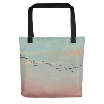 Flock of Birds in Distance Tote Bag