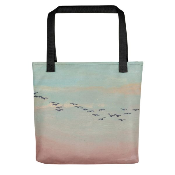 Flock of Birds in Distance Tote Bag