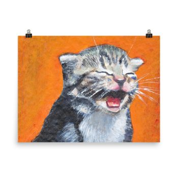 Cute Laughing Kitten Poster Print Wall Art