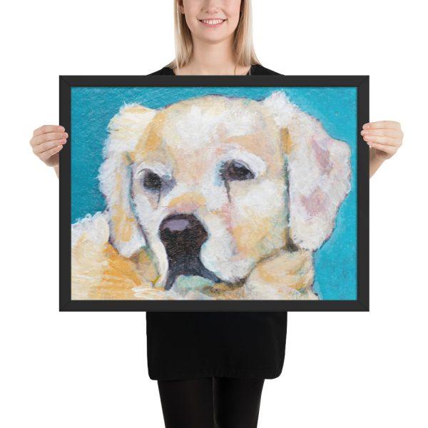 White Puppy on Blue Framed Print Wall Art