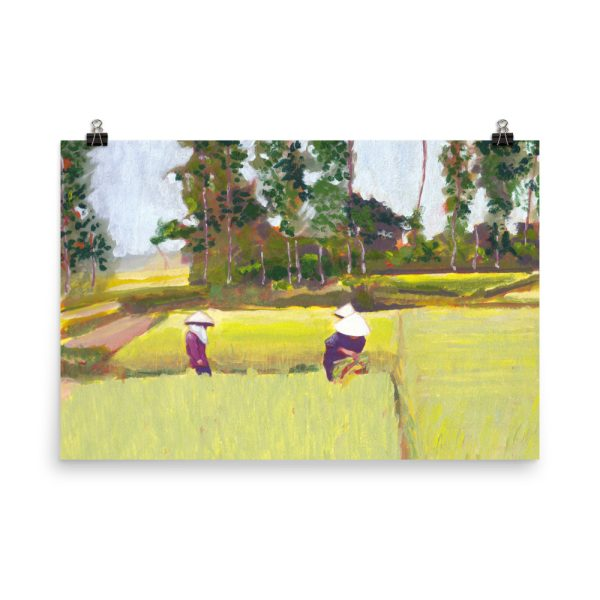 Vietnamese Paddy Fields Painting Poster Print Wall Art