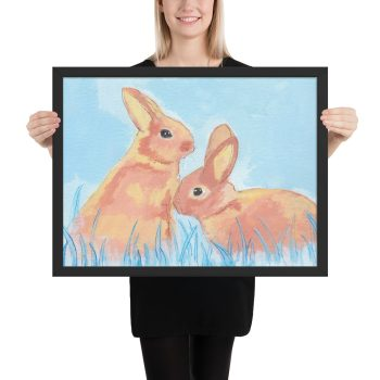 Pastel Bunnies on Blue Painting Framed Print Wall Art