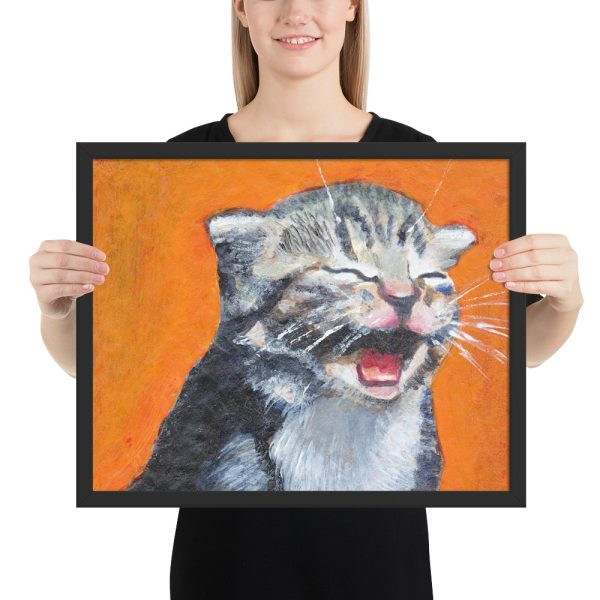 Cute Laughing Kitten Framed Print Wall Art