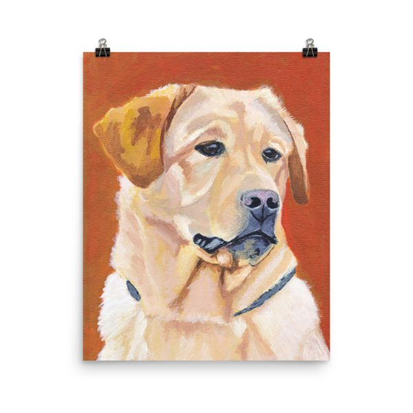 Dog on Orange Background Poster Print Wall Art