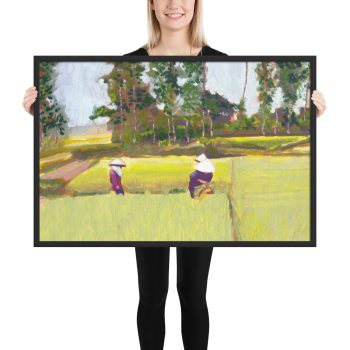Vietnamese Paddy Fields Painting Framed Print Wall Art