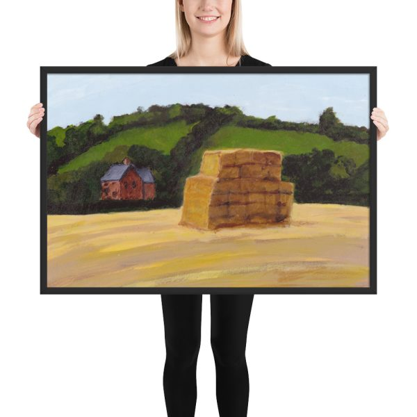 Haystack in England Landscape Painting Framed Print Wall Art