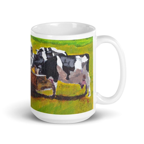 Cows Feeding in Field 15oz Ceramic Coffee Mug