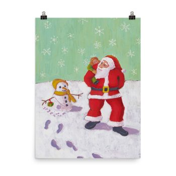 The Snowman's Xmas Present Painting Poster Print Wall Art