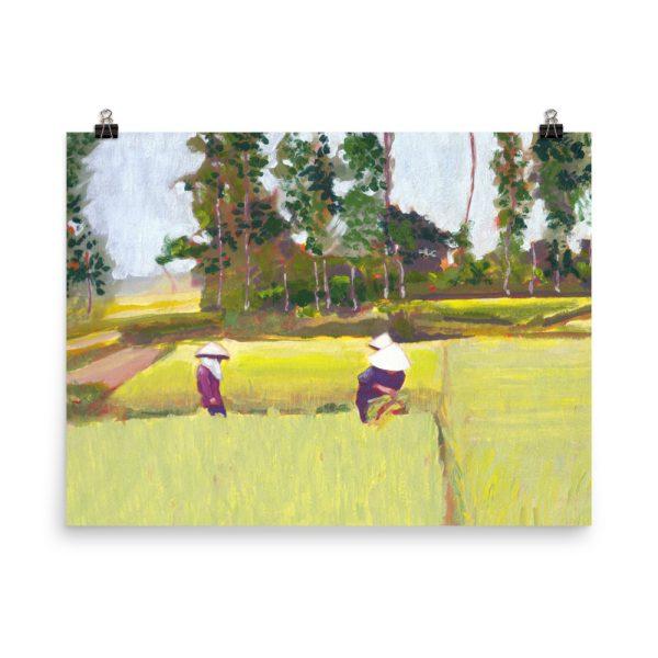Vietnamese Paddy Fields Painting Poster Print Wall Art