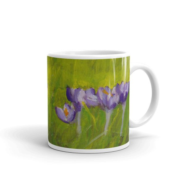 Purple Crocus Flowers in Green Grass 11oz Ceramic Coffee Mug